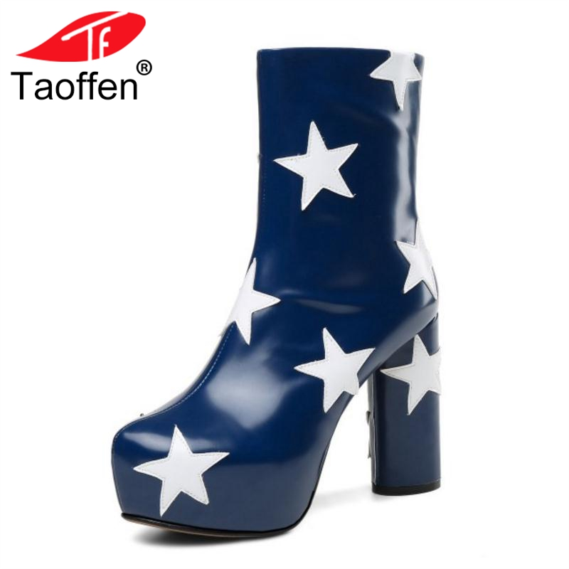 TAOFFEN Size 34-43 Women High Heel Boots Winter Genuine Leather Ankle Mixed Color Print Shoes Woman Platform Zipper BootsTAOFFEN Size 34-43 Women High Heel Boots Winter Genuine Leather Ankle Mixed Color Print Shoes Woman Platform Zipper Boots