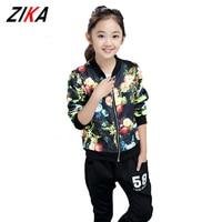 ZiKa New Kids Hip Hop Clothing 2017 Autumn Children Floral Printed Coats Back Harem Pants Boys