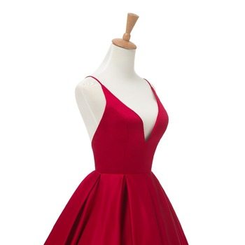 2019 Red Sexy Satin Evening Dresses Long A-line Prom Dresses V-neck Evening Party Dresses Prom Dress Open Back Robe De Soiree 6