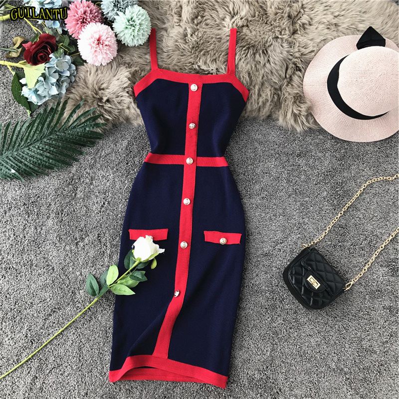 <font><b>Festival</b></font> Female Summer Sleeveless <font><b>Bandage</b></font> Dress Women 2019 Stretch Fashion Casual Vest <font><b>Top</b></font> Button Retro Elegant Bodycon Dresses image