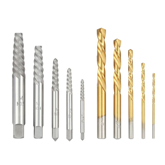 Broken Bolt Damaged Screw Extractor Set + 10pcs Cobalt Left Hand Drill Bit set  +Metal Case Quality herramientas perforator tools