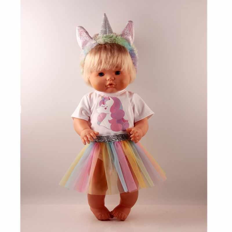 Conjuntos de traje de unicornio para 42 cm/16 pulgadas ropa de muñecas de bebé de nanuco y su hermana de plata diademas de unicornio blanco camiseta falda de encaje