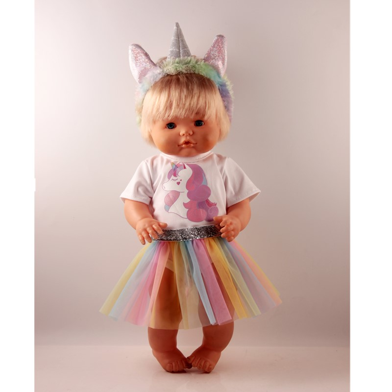 Unicorn Suit Outfits For 42cm/16inch Nenuco Y Su Hermanita Baby Dolls Clothes Silver Unicorn Headbands White T-shirt Lace Skirt