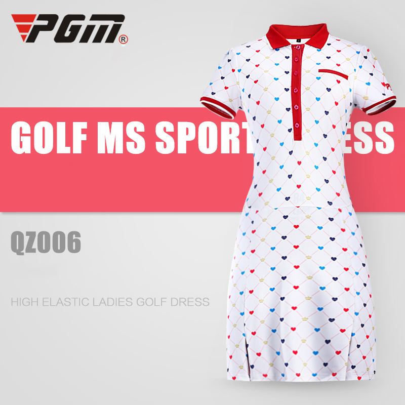 PGM Women Golf Dress Breathable Cotton Printed Sport Dress Quick Dry Elastic Woman Sportwear Badminton Tennis Dresses Skirts 2018 new cotton printed rose dresses