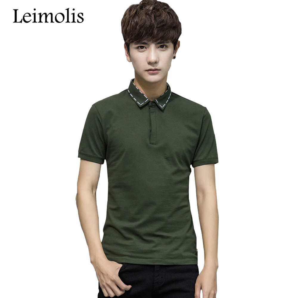 Leimolis 2017 casual army green white black cotton polo shirt men plus size regular breathable short sleeve