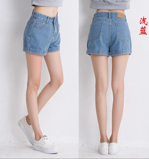 AQ51 Verano Mujeres Pantalones Cortos Sueltos Cortocircuitos Más El Tamaño de Las Mujeres de Cintura Alta Pantalones Cortos de Mezclilla de Algodón Caliente