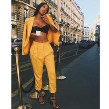 Mujeres pantalones trajes amarillo Slim señoras por encargo Oficina de negocio  trajes de trabajo Formal traje f90c95f4428a