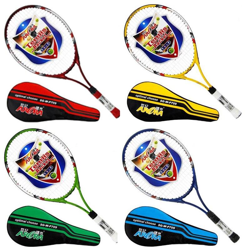 Chaude 4 Couleur Ultra-Léger Aluminium De Carbone Tennis De Raquette Adulte Étudiant Formation Raquette avec de la Ficelle Livraison Raquette Sac Grip Taille: 4 1/4