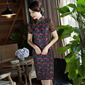 Chinese Women's Satin Cheongsam Qipao Cotton Lace Dress S M L Xl Xxl Chinese Oriental Dresses Slim Lace Cheongsams Dress