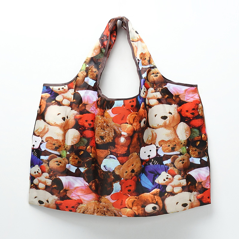 2019 <font><b>Japanese</b></font> cute cartoon <font><b>folding</b></font> portable green tote <font><b>bag</b></font> waterproof Oxford cloth large capacity storage <font><b>shopping</b></font> <font><b>bags</b></font> image