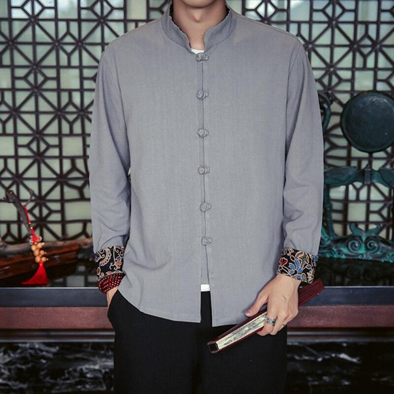 Chinois Lin navy Longues Manches Confortable Pankou Chemise Vêtements Montant Col Blue 2018 Casual Hommes Vintage white Printemps Figure Black À Coton Orthographe gray gqXwn158x