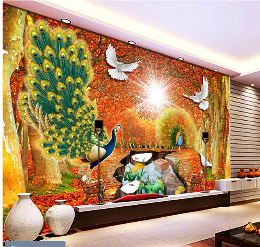 3d Wallpaper Peacock Gold Landscape Painting Custom Photo Wallpaper Large Wall Painting Background Wall Paper Wall Paper 3d Wallpaperphoto Wallpaper Aliexpress