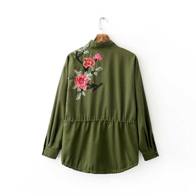 Vadim frauen floral stickerei bomber jacke gepatcht niet design lose flug jacken mantel lässig punk outwear capa CT1285