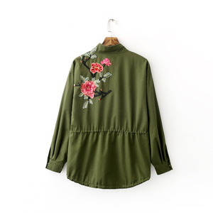 Image 5 - Vadim women floral embroidery bomber jacket patched rivet design loose flight jackets casual coat punk outwear capa CT1285