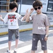 kids clothes Boys summer suit 2019 new casual boy round neck short-sleeved T-shirt hole denim children sets