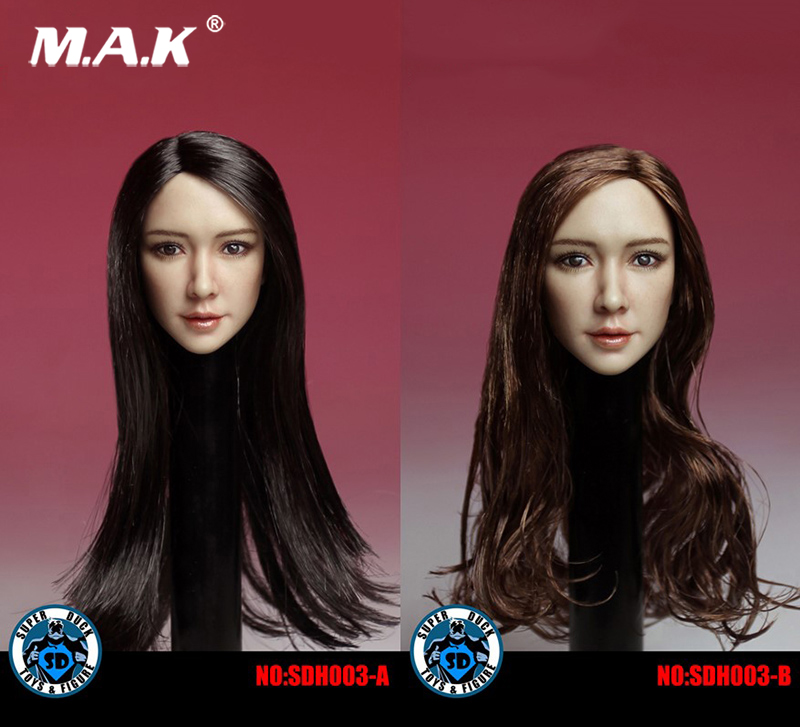1:6 Scale Asia Beauty Female Head Sculpt with Black\Brown Long Hair SDH003 for 12 inches PH Action Figure Suntan Body 1 6 scale asian female head sculpt with black long hair models toys for 12 female action figure