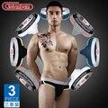 3 pçs/lote Novo cuecas dos homens cueca U convexo sensuais cuecas de cintura baixa cor sólida frete grátis