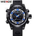 WEIDE Luxury Sports Men's Watches Quartz Digital Analog Big Dial Display PU Straps Waterproof Famous Brand relogio masculino