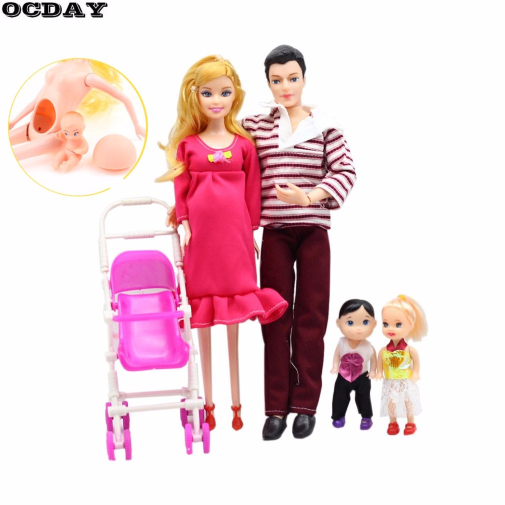 Toys Family 5 People Dolls Suits 1 Mom /1 Dad /2 Little Kids/1 Baby Son Carriage Pregnant Doll Sylvanian Families Toys For Girls