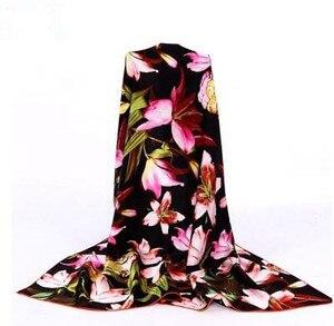 Image 2 - 100% シルクフラワースカーフソフトブランドスカーフパシュミナ高品質