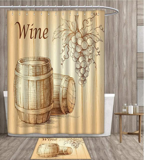 Wine Shower Curtain Customize Wooden Barrels And Bunch Of Grapes On Wood Backdrop Botany Harvest Theme Artwork Fabric