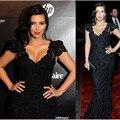 Kim Kardashian de la Alfombra Roja Vestidos de Sirena de Lentejuelas Negro Con Cuentas de Encaje Vestidos de La Celebridad 2016 Personalizada del vestido de festa