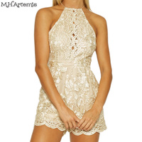 M H Artemis Chic Floral Embroidery Lace Playsuit Sexy Backless Shiny Strap V Neck Evening