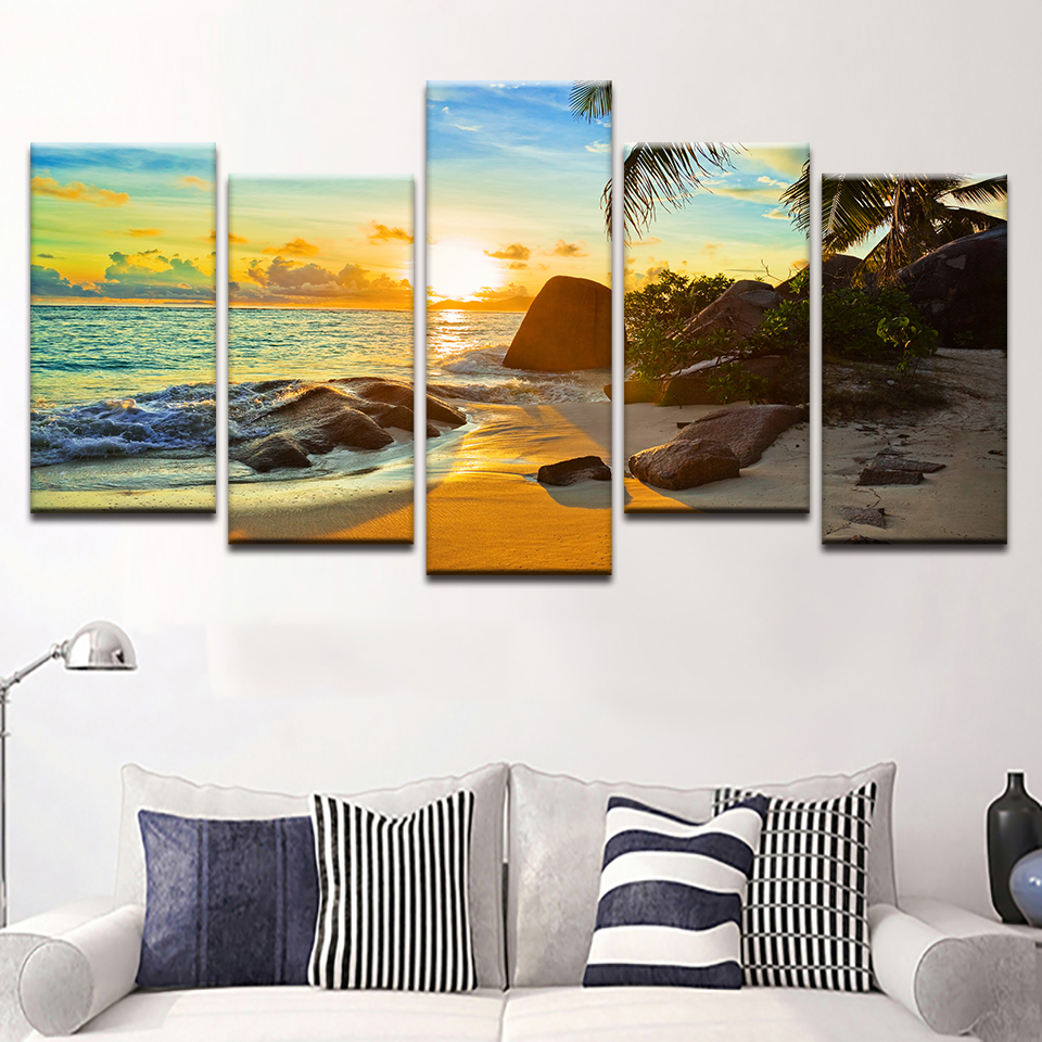 HD Printed Modern Home Decor Living Room Sunset Beach Seascape Canvas Painting Wall Art Modular Poster Pictures Frame 1