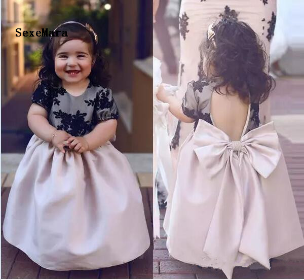 Lovely Black Lace Baby Girl Birthday Dress Flower Girl Dresses with Bow Ankle Length Kids Formal Party Dress Christmas Dress christmas faux fur fitted velvet short party dress with hat