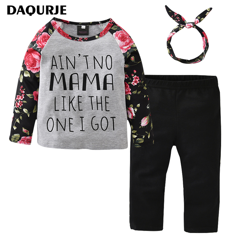 DAQURJE Girls Clothes Casual Autumn Winter Full Sleeve Flower T-shirt + Pants+ Scarf Clothing Sets Toddler Kids Children'S Suit he hello enjoy toddler girls clothes autumn winter girl clothing sets 2017 long sleeved jacket skirt pants flower clothing set