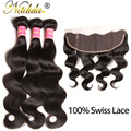 Nadula Beauty Hair Products 7A Brazilian Virgin Hair Body Wave With Closure Natural Black Color 13x4 Lace Frontal With Bundles