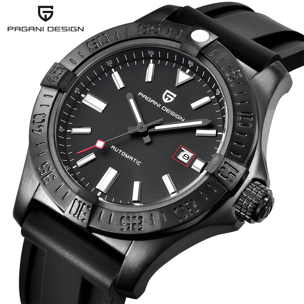 Automatic Watch Mechanical-Watches Rubber-Strap Pagani-Design Waterproof Luxury Classic