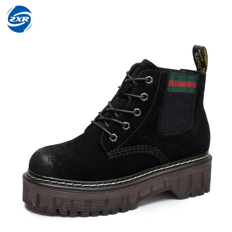 Hot Sale Genuine Leather Ankle Boots Autumn Winter Lace Up Women Boots Rubber Wearable Ladies Boots Black Green Shoes autumn and winter new ladies genuine