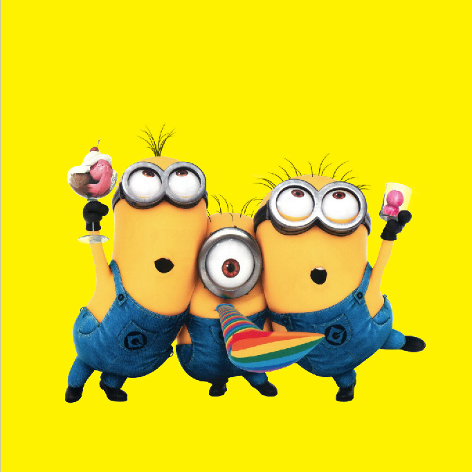 8x8ft Minions Dave Stuat Tim Despicable Me Yellow Wall