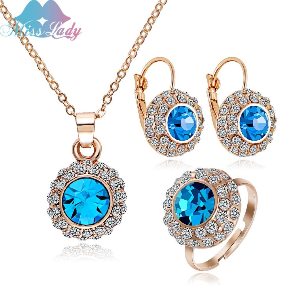 מיס ליידי קיץ זהב צבע ריינסטון וינטאג 'ירח נהר קריסטל כלה תכשיטים סטים אופנה תכשיטים MLK58082