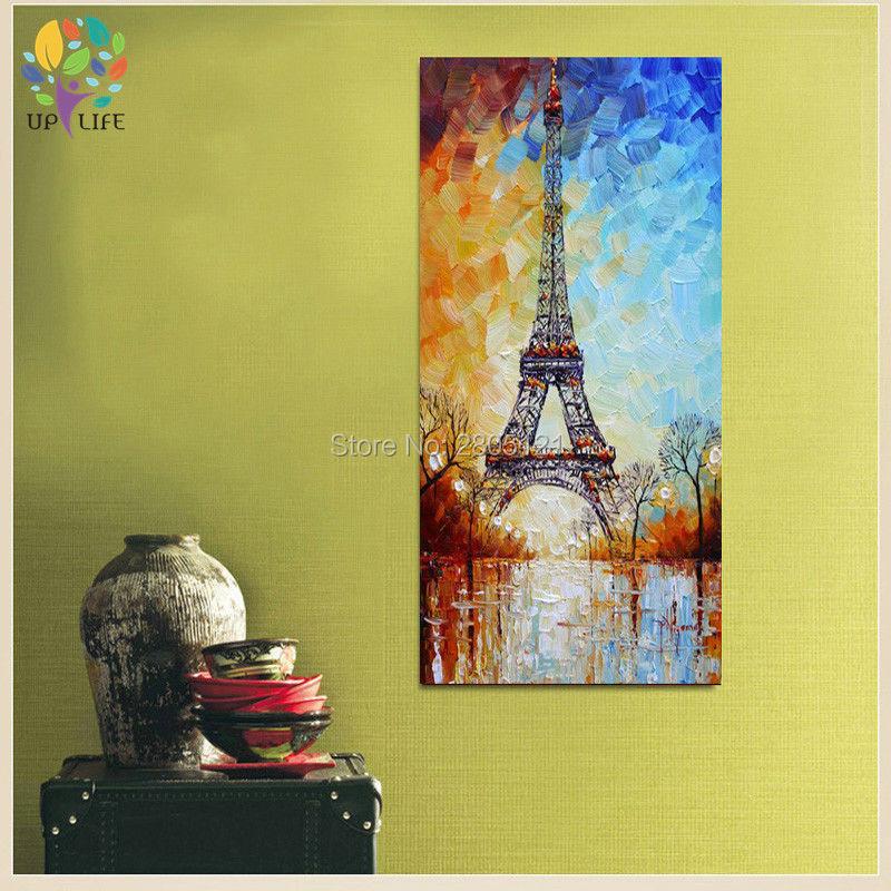 handmålad palettkniv oljemålning Eiffeltornet vitblått paris - Heminredning - Foto 4