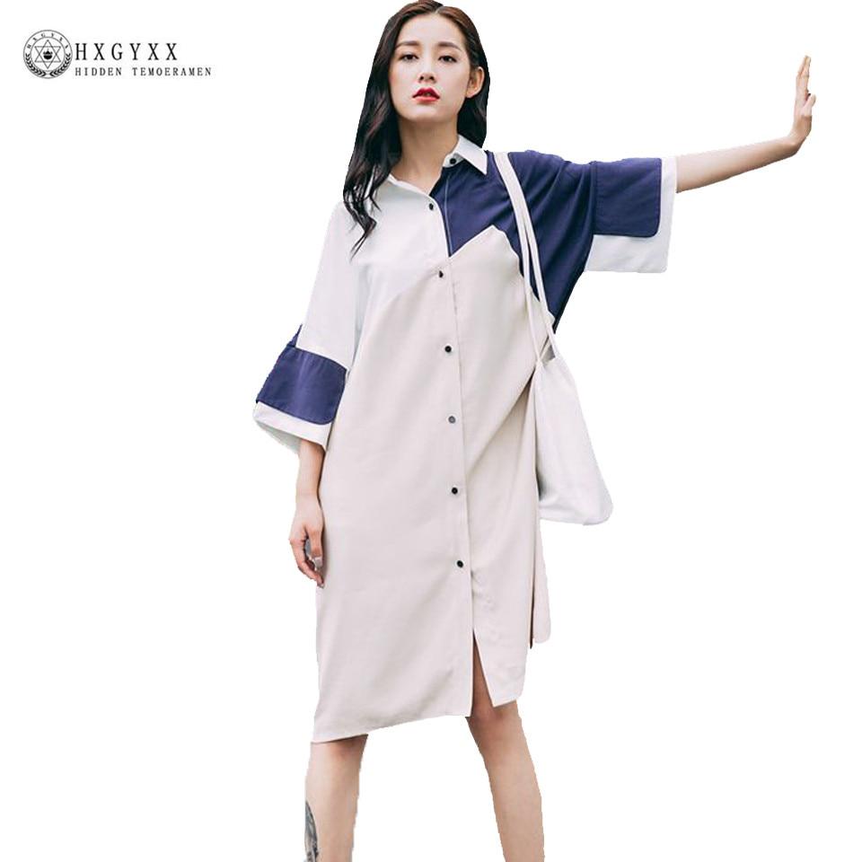 Europe Style Fashion Medium Shirt Dress 2017 Woman Summer Loose Casual Stitching Turn-down Collar Half Sleeve Street Wear OKA223