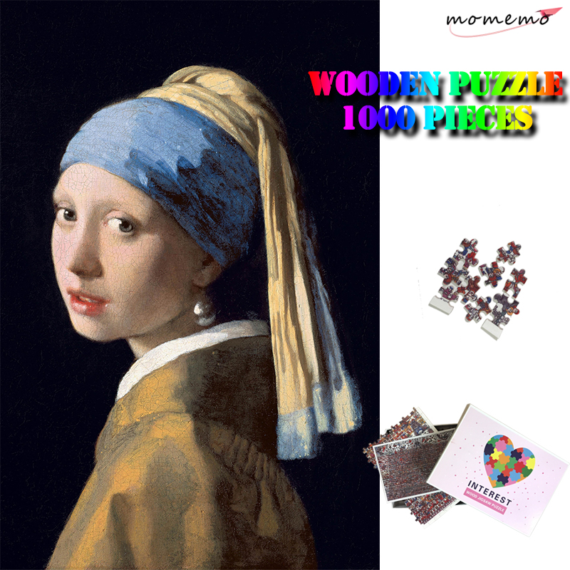 MOMEMO Girl With A Pearl Earring Wooden Jigsaw Puzzles 1000 Pieces Adults Artistic Insight Puzzle Kids Chlidren Education Toys