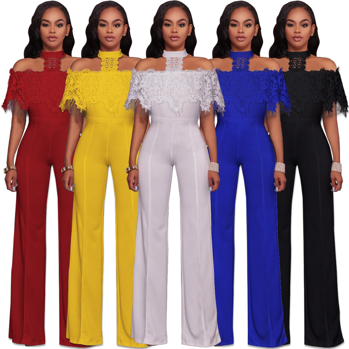 93df372c3177 LIVA GIRL Stylish Womens Sexy Hang Neck Off Shoulder Lace Top Strapless  Jumpsuit Rompers Fashion Wide Leg One Piece Outfits-in Jumpsuits from  Women s ...