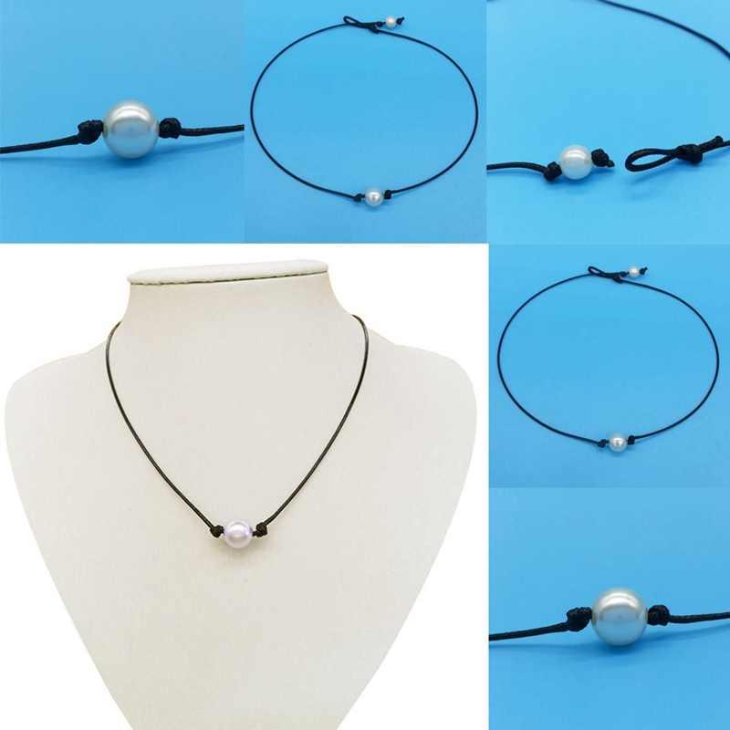 Chic Einzigen Zuchtperlen Halskette Nachahmung Perlen Halsband Halskette Schwarz Leder Schnur Schmuck Großhandel