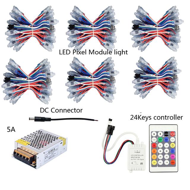 Luzes led Pixel módulo WS2811 DC 5 V de Entrada Digital LED RGB Seqüência de Luz IP68 À Prova D' Água 50 pcs/String5sets