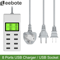 Leebote 8 Ports USB Charger 40W Multi Port USB Power Adapter Universal USB Socket Wall Desktop Charger for Mobile Phone MID MP5