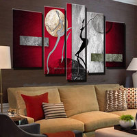 large modern abstract oil painting on canvas red silver dancers wall pictures dancing women art painting for living room decor