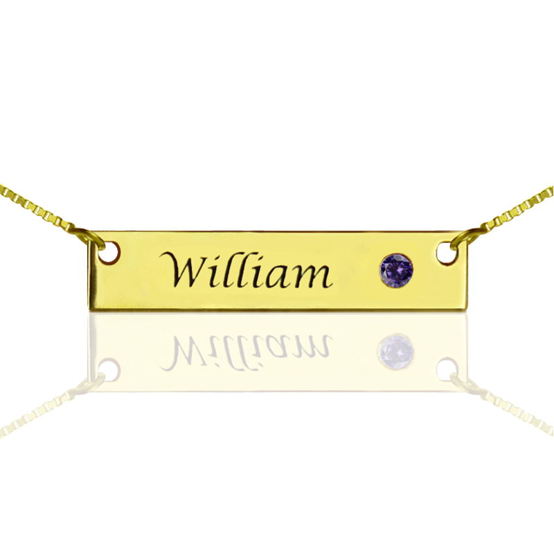 Wholesale Hand Stamped Name Bar Necklace Personalized Birthstone Bar Necklace Gold Color Initial Pendant Engraved Name Jewelry