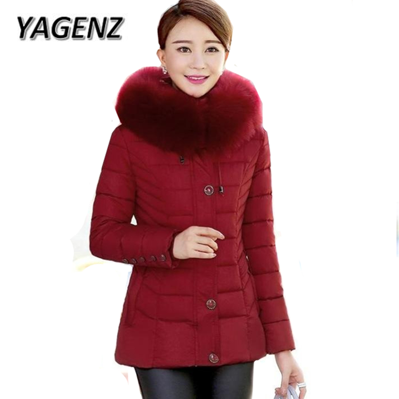 2018 Middle-aged Women Down cotton Winter Jacket Hooded Coat Slim Fur collar Thick Warm Short Outerwear Solid Casual Jackets 5XL 2018 high grade middle aged down fox fur collar winter jacket hooded coats large size thick warm parkas women long outerwear 6xl