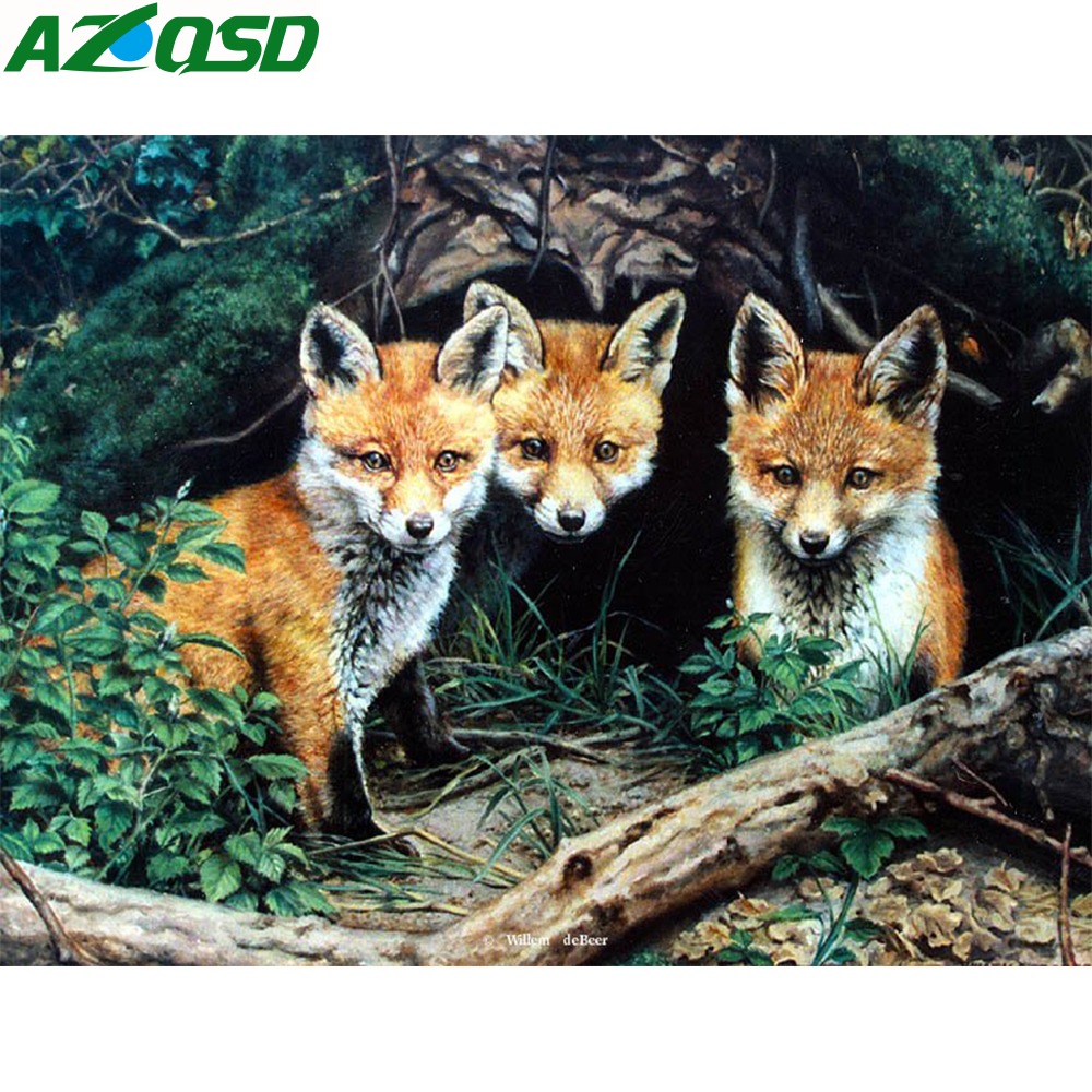 AZQSD Diamantmålning Animal Pictures of Rhinestones Diamond Broderi Försäljning Fox Needlework Diamond Mosaic Hantverk Handgjord present
