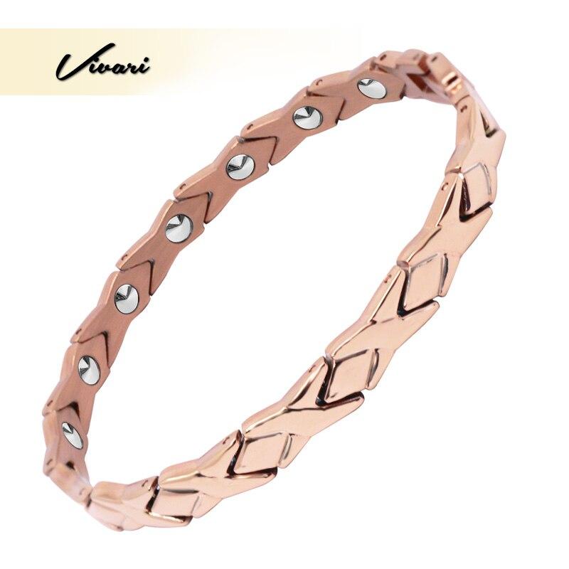 Vivari santé 99.999% solide Bracelet en titane Germanium pour les femmes pur or Rose couleur charme chaîne Bracelets Bracelets de luxe