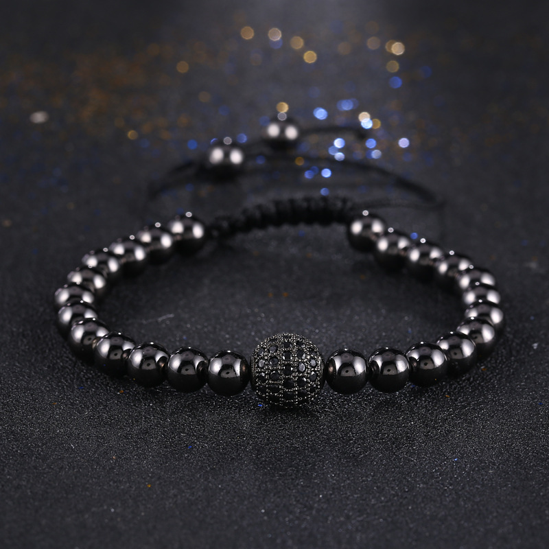 KANGKANG Fashion Men Black Bracelet Pave Setting Black CZ Round Bead Braiding Men Macrame charming Bracelet in Strand Bracelets from Jewelry Accessories