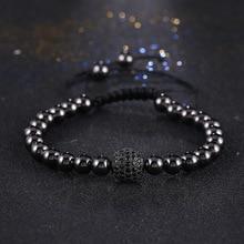 KANGKANG Fashion Men Black Bracelet,Pave Setting CZ Round Bead Braiding Macrame charming Bracelet