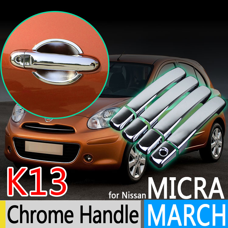 For Nissan March K13 Micra Renault Pulse Chrome Door Handle Cover 2010 2011 2012 2013 2014 2015 Accessories Stickers Car Styling